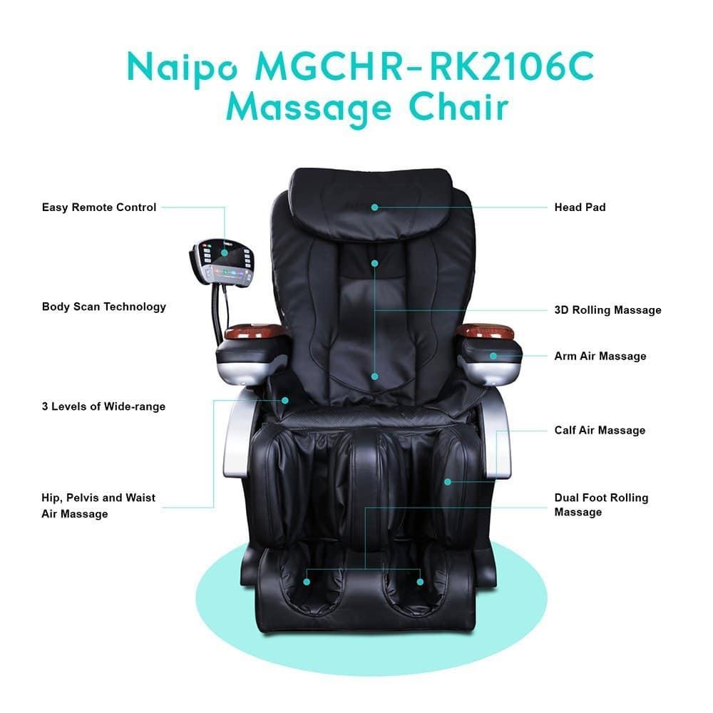 Naipo Shiatsu Back Massager with Heat, Deep Kneading, Rolling and Vibration - NAIPO