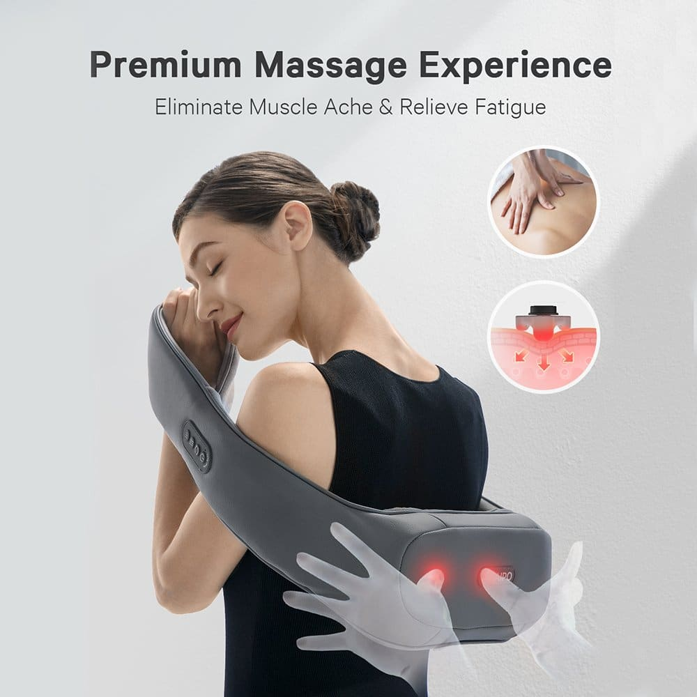 Naipo Shiatsu Back Massager with Heat, Deep Kneading, Rolling and Vibration - NAIPO